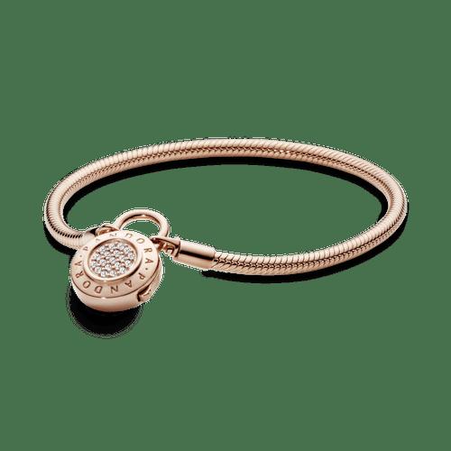 Brazalete De Cadena De Serpiente Con Broche De Candado De Pave Pandora Moments