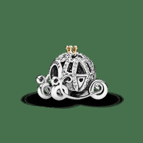 Charm Y Oro 14K Carruaje De Cenicienta De Disney Dos Tonos