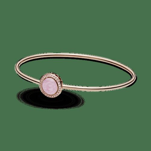 Brazalete rígido Remolino rosa Recubrimiento en Oro Rosa de 14k