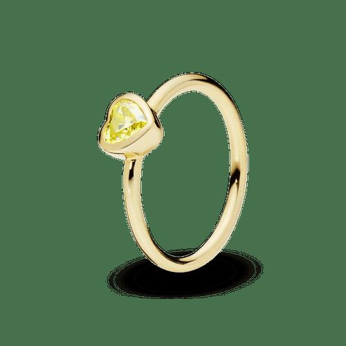 Anillo Corazón De Piedra Amarilla Recubrimiento en Oro de 14k