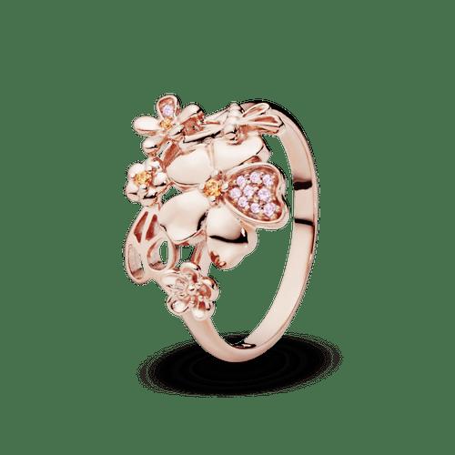 Anillo Flor De Pavé Recubrimiento en Oro Rosa de 14k
