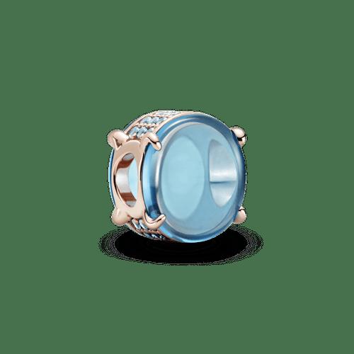 Charm Cabujón oval azul Recubrimiento en Oro Rosa de 14k