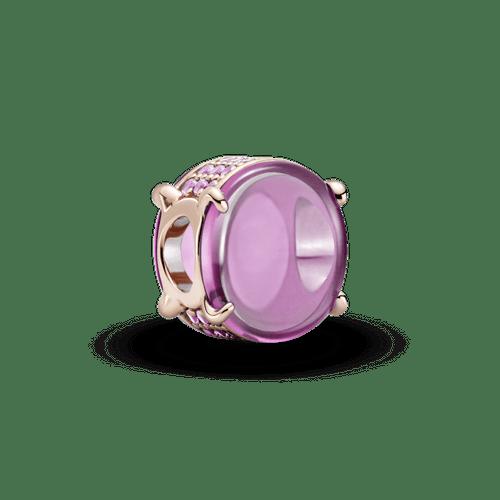 Charm cabujón oval rosa Recubrimiento en Oro Rosa de 14k