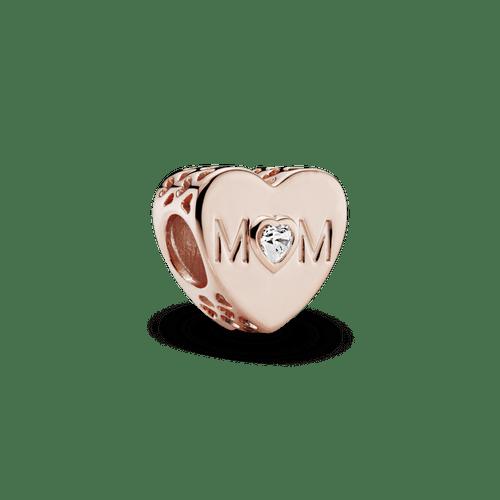 Charm Corazón de mamá Recubrimiento en Oro Rosa de 14k