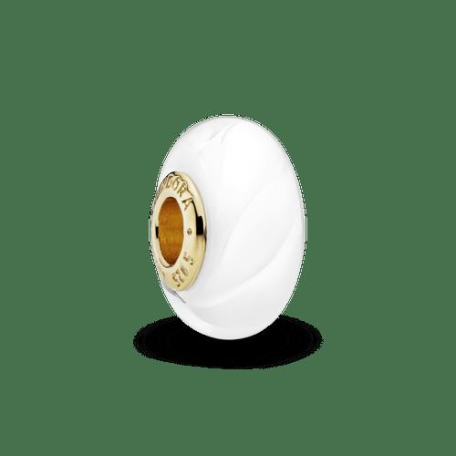 Charm Cristal Murano Ondulado Blanco