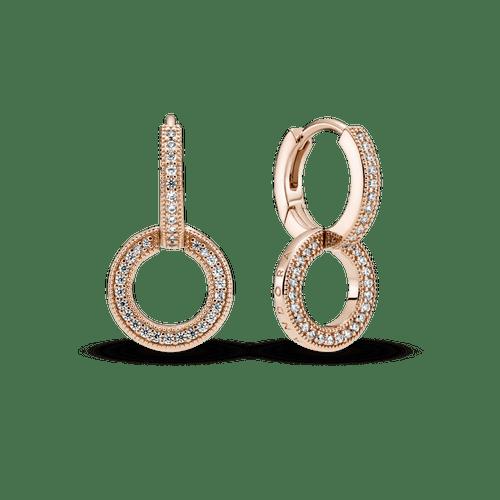 Aretes Doble Aro Resplandecientes Recubrimiento en Oro Rosa de 14k
