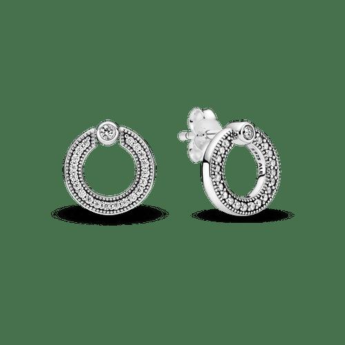 Aretes De Botón Reversibles Círculo De Pavé Y Logotipo