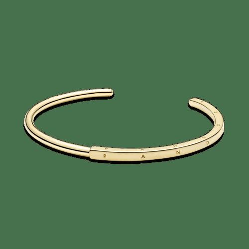 Brazalete Rígido I-D Pandora Signature Recubrimiento en Oro de 14k