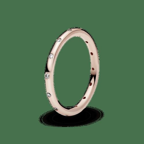 Anillo sencillo reluciente Recubrimiento en Oro Rosa de 14k