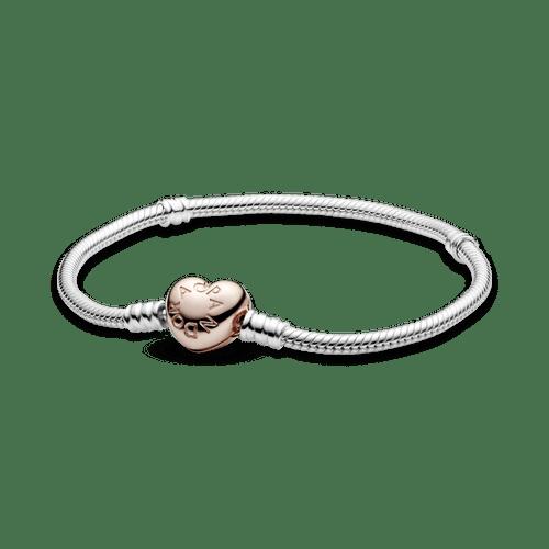 Brazalete Pandora Moments cadena de serpiente con broche de corazón en Recubrimiento en Oro Rosa de 14k