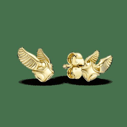 Aros De Botón Snitch Dorada De Harry Potter Recubrimiento en Oro De 14K